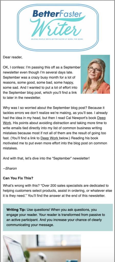 screenshot business writing skills tips newsletter