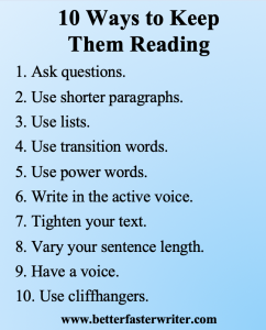 list of 10 ways to keep them reading graphic