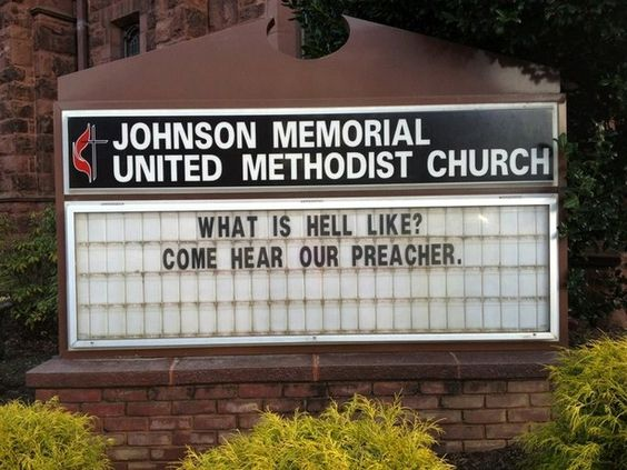 funny church sign what is hell like